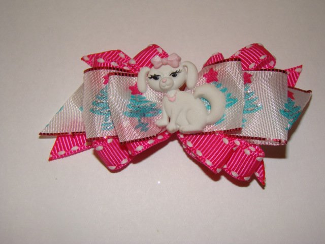 Christmas Dog Bow Pink & Blue